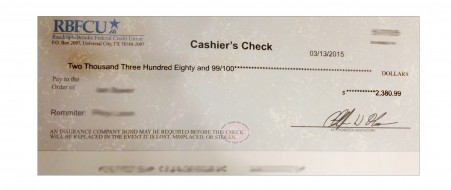 Be cautious of check fraud