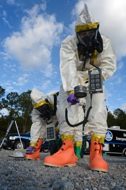 Airmen suit up for contamination training